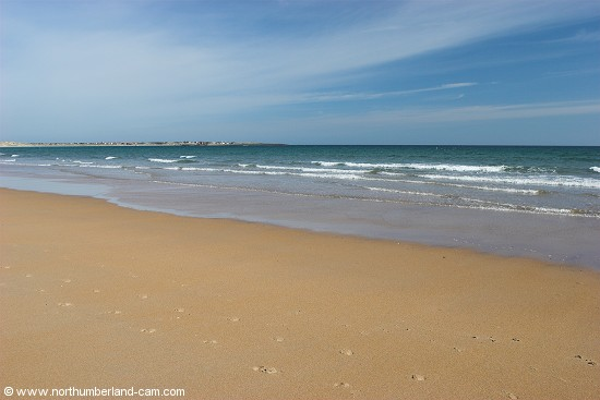 View north along the beach at Beadnell Bay.
