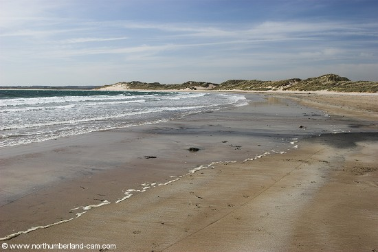 View south along Beadnell Bay.